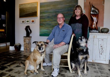 Margaret and Allin with dogs